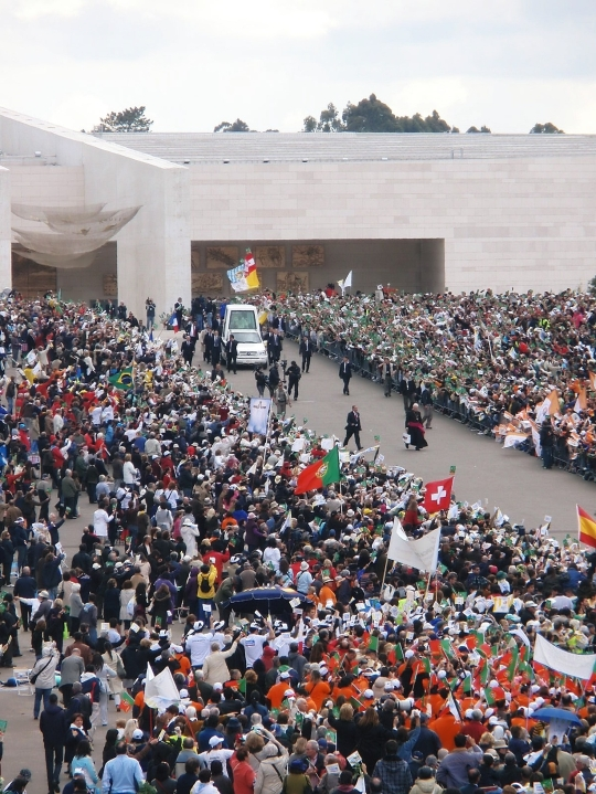 Pope Benedict XVI visits at the Fatima Shrine