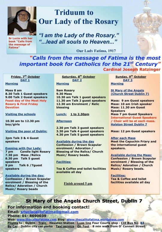 The Call to Fatima Triduum programm 7th-9th October 2011